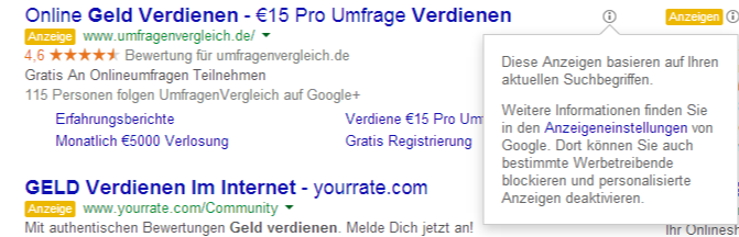 Geld verdienen im Internet - Google-Suche